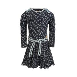 LoFff-Girls Loffely dress Joanneke- Dark blue leaf
