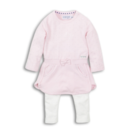 Girls 2 pce Babysuit- Dirkje- Pink + off white