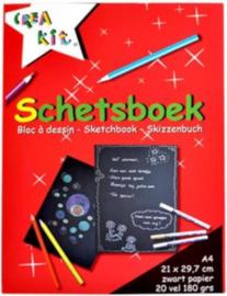 C.W.-Crea Kit-Schetsboek zwart papier A4 180 grams-Red