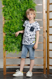 Kids Boys T-shirt s/s V-neck allover print + chest pocket-Bampidano-white AOP