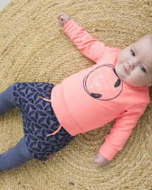 Baby Girls 3 pce babysuit skirt- Dirkje- bright pink+navy melee+aop