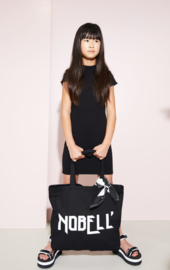Nobell-Girls Teens- MizzyB rib jersey fitted dress with ssl with curly edges-Jet Black