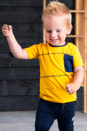 B.Nosy-Baby boys short sleeve t-shirt with contrast pocket-Lemon chrome