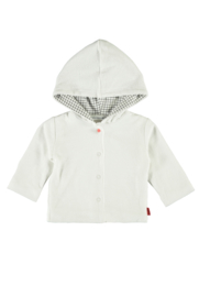 Bampidano-Newborn Unisex Baby cardigan Finley frotté with hood SLOTH-White