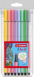 Stabilo pen 68 pastel etui- Viltstiften-C.W.-Multicolor