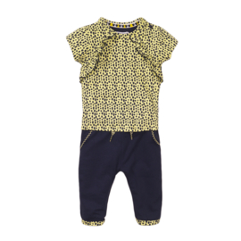 Dirkje-Baby Girls 2 pce babysuit trousers -Navy + yellow