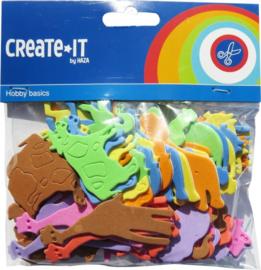 Create it- C.W.-Foam stickers dieren 64 stuks-Multi Color