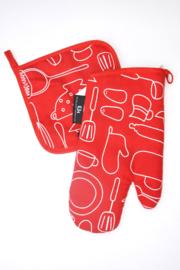 Tica-Unisex Set ovenwant en pannenlap-Red