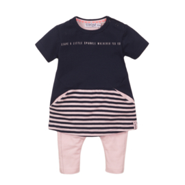 Dirkje-Baby Girls  2 pce babysuit dress -Light pink + navy
