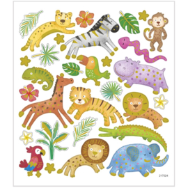 Stickers, vel 15x16,5 cm, 30 stuk, , safaridieren, 1vel-C.W.-Multi Color