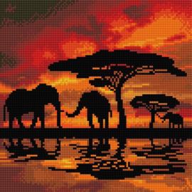 Chrystel Art Kit-Diamond Painting -Elephant Silhouette-Craft Buddy- Multi Color