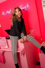 Vingino -Girls gestreepte skinny fit broek Sacha-Deep Black