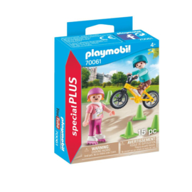 C.W. -Playmobil Special Plus- Kinderen met fiets en skates- 70061-Multi Color