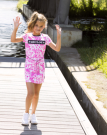 Girls dress Delfts ao with bow detail at back neck-B.Nosy-Delfts pink