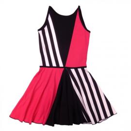 LoFff-Girls Panel dress - Fuchsia Black White