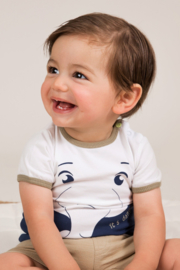 Dirkje-Baby Boys T-shirt ss -White + navy