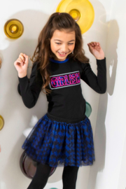 Girls Kids t-shirt with puffed sleeves and chest artwork -B.Nosy-Black