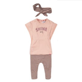 Dirkje-Baby Girls 2 pce babysuit tunic + headband -Smokey pink + stripe