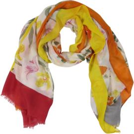 Sjaal Bloemen Gekleurde randen 90X180CM- Klijn -Oranje