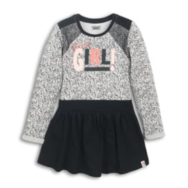 Girls Dress-DJ Dutch Jeans-Grey melee + black