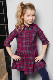 Girls Kids woven check dress-Bampidano-Pink Check