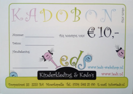 Kadobon waarde € 10,00