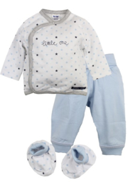 Dirkje-Baby Boys pre 2 pce Babysuit + Booties- Light Blue aop