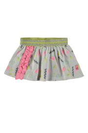 Baby Girls skirt allover print with ruffle + fancy elastic waist-Bampidano-Allover