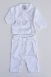 Baby Boys pre 2-pce babysuit Animals-LPC-White