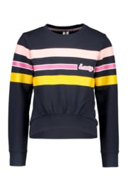 B.Nosy-Girls sweater with vertical printed stripes on chest-Ink Blue