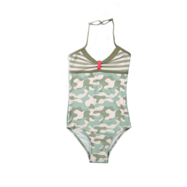 Girls Swimsuit - DJ Dutch jeans- Faded light pink+army green aop