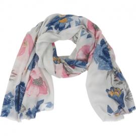 Sjaal multi bloemen glitter 90X180CM-Klijn-Blauw