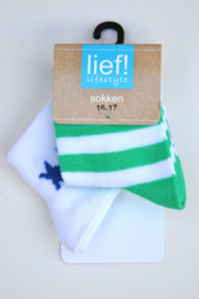 Lief! Boys 2-pce Socks- Lief- White-Green