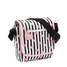 Girls Kinder Flaptasje - Stripes & Hearts Black