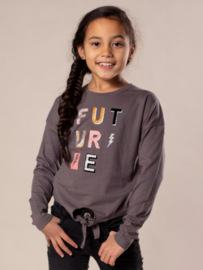 DJ Dutch Jeans-Girls T-shirt ls knotted at front-Grey