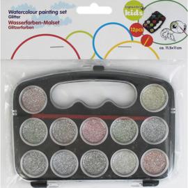 Waterverf glitter 12 delig met penseel-C-diverse kleuren