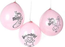 C.W.-Globos Ballonnen Hoera Meisje 10st-Rose