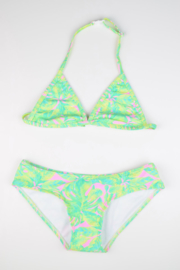 Girls Bikini Goa-Just Beach- leaves pink-Green