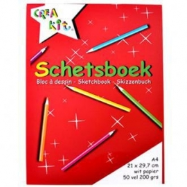 Crea Kit- C.W.-Schetsboek Crea-kit A4 200 grams-Red