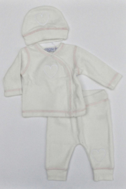 Baby Girls pre 2-pce Babysuit + hat Girls-Dirkje- Off White