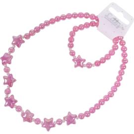 Kinder Collier/Armband Glitter sterren-Klijn -Pink en Rose