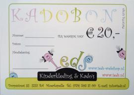 Kadobon waarde € 20,00