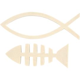Wooden fish, h: 4,5+5,5 cm, b: 12,5+15,8 cm, diepte 1,2 cm