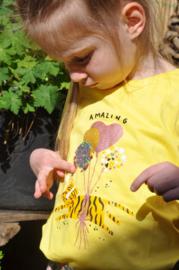 Blue Seven-Kids Girls knitted T-Shirt-Straw orig yellow