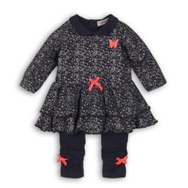 Baby Girls 2 pce babysuit dress- Dirkje- Silver aop+navy