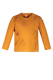The New Chapter-Baby Unisex Long sleeve t-shirt with logo panel print-Caramel