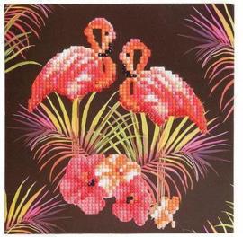 Craft Buddy- Card Kits-Diamond Painting Flamingos - Multi Color