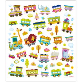 Stickers, vel 15x16,5 cm, 64 stuk, , trein met dieren,  1vel-C-Diverse kleuren
