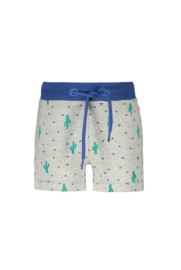 Bampidano- Baby Boys sweat shorts Eliah AO/plain with striped tapes + waistcord CACTUS-Grey melee aop