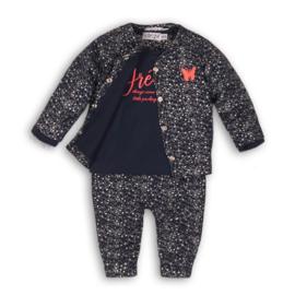 Baby Girls 3 pce babysuit - Dirkje- Silver aop+navy